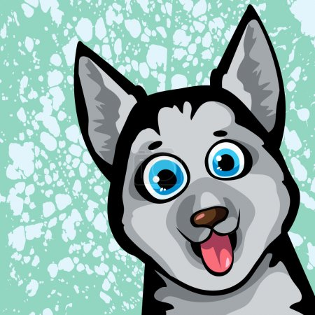 Cartoon funny dog - husky