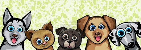 Illustration for Set of funny cartoon dogs - husky, shihpoos, dalmatian, pekingese on a green background - Royalty Free Image