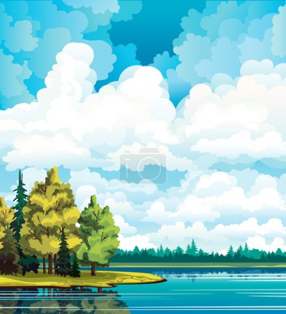Illustration for Autumn landscape with yellow and green trees near the lake and group of white cumulus clouds on a blue sky - Royalty Free Image