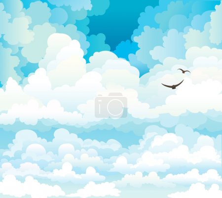 Illustration for Group of vector cumulus clouds on a blue sky background with two flying birds - Royalty Free Image