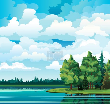 Illustration for Green summer landscape with trees near the lake, forest and group of cumulus clouds on a blue sky - Royalty Free Image
