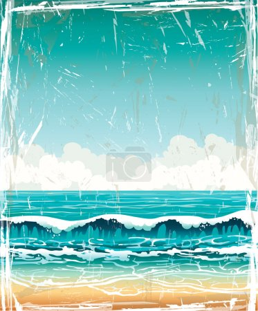 Grunge landscape with sea, waves and cloudy sky