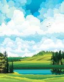 """Постер, картина, фотообои """"Зеленый Векторный летний пейзаж"""""""
