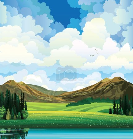 Illustration for Vector summer landscape with green flowering field, forest, mountains and lake on a blue cloudy sky backgound with birds. - Royalty Free Image