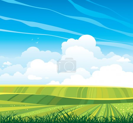 Group of clouds and green field on a blue sky.