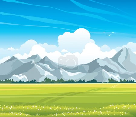 Illustration for Summer landscape with green flowering meadow and gray mountains on a blue sky background with cumulus clouds - Royalty Free Image