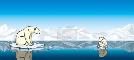 Polar bear and his baby. Global warming.