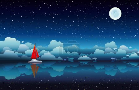 Illustration for Red sailing boat in a calm sea on a night starry sky with full moon - Royalty Free Image
