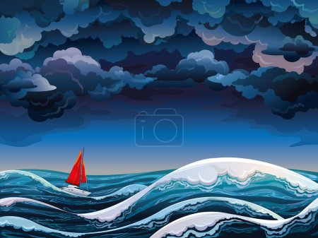 Illustration for Night seascape with red sailboat and stormy sky - Royalty Free Image