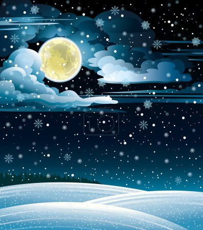 Illustration for Nature winter landscape with full moon and snowfall. - Royalty Free Image