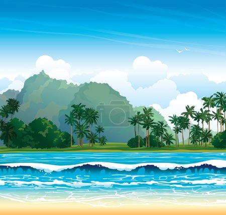 Tropical landscape. Nature vector.