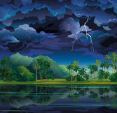 Tropical landscape with lightning and palms