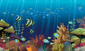 Coral reef with underwater creatures.