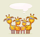 Cartoon giraffes family