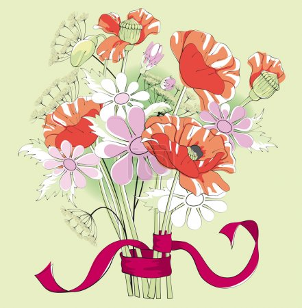 Illustration for Bouquet of poppies and daisies, tied with a ribbon - Royalty Free Image