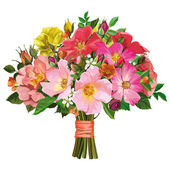 bouquet of multicolored roses and wild flowers