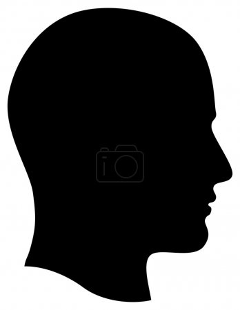 Photo for Man Head Profile Dark Silhouette Isolated on White Background Illustration - Royalty Free Image