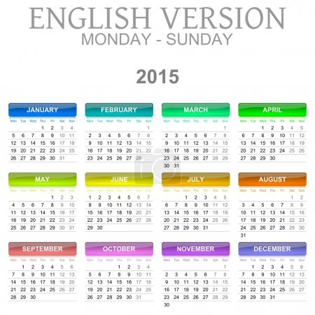 2015 Calendar English Language Version Mon - Sun