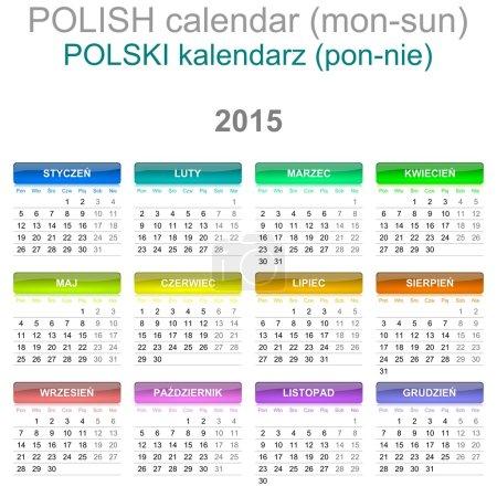 2015 Calendar Polish Language Version Mon - Sun