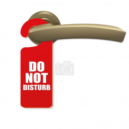 Illustration for Do Not Disturb Sign With Copper Door Handle With Gradient Mesh, Isolated On white Background, Vector Illustration - Royalty Free Image