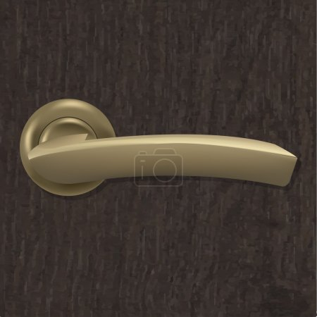 Illustration for Door Handle On Wooden Background With Gradient Mesh, Vector Illustration - Royalty Free Image