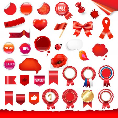 Big Red Labels And Ribbons Set