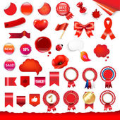 Big Red Labels Ribbons And Objects Set With Gradient Mesh Vector Illustration