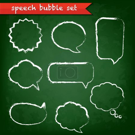 Illustration for Green Chalk Board With Speech Bubbles Set With Gradient Mesh, Vector Illustration - Royalty Free Image