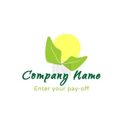 logo - soleil avec feuilles vertes