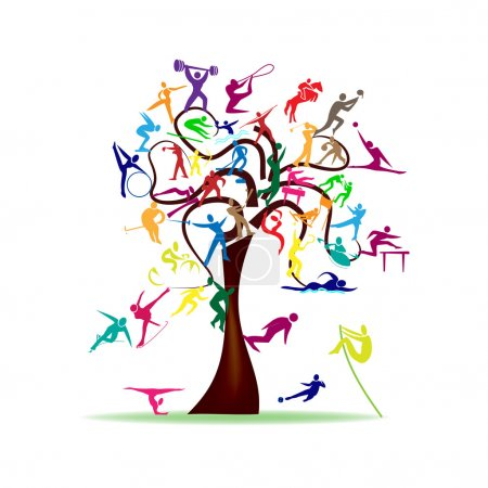 Illustration for Abstract illustration - tree with colorful sport icons - Royalty Free Image