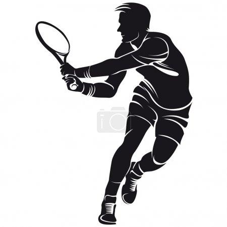 Illustration pour Joueur de tennis, silhouette, isolé sur blanc - image libre de droit
