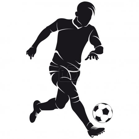 Vector football (soccer) player silhouette with ball isolated