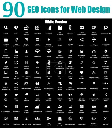 Photo for This is a cool, creative and very high quality pack of 90 SEO icons suitable for web and mobile design projects. Main features: 90 SEO Icons file, full editable, easy to change color and resize. - Royalty Free Image