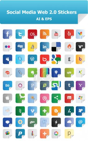 Photo for This is a simple, elegant and professional set of vectorized Social Media Web 2.0 Stickers for your web and mobile business projects. They are a total of 62 icons. It is very easy to change the color and size. - Royalty Free Image