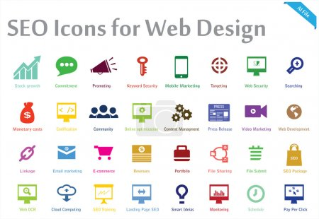 Photo for This´s a creative collection of 32 icons appropriate for any Search engine optimization and web Marketing services. You can use this set for several purposes like: websites, print templates, presentation templates, illustrations… - Royalty Free Image