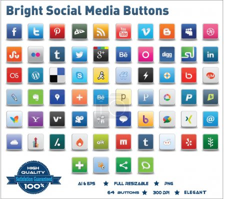 Photo for This is a simple, elegant and professional collection of vectorized social media buttons suitable for your web, mobile or other design projects.You can resize them to any size you want without lose the item quality. - Royalty Free Image