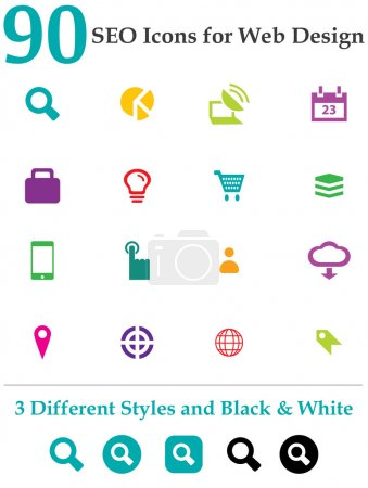 Photo for This is a cool, creative and very high quality pack of 90 SEO icons suitable for web design projects. Main features: 90 vector SEO Icons, 3 different styles, Black & White Included, full editable AI file, easy to change color and resize - Royalty Free Image