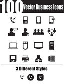This is a cool creative and very high quality pack of 100 vector business icons suitable for web design projects Main features:100 vector business icons3 different styles black and white includedfull editable AI file easy to change color-resize