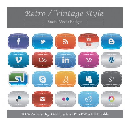 Photo for This is a nice, simple and elegant set of retro and vintage styled social media badges suitable for your graphic and web projects. They are fully resizable and editable. - Royalty Free Image