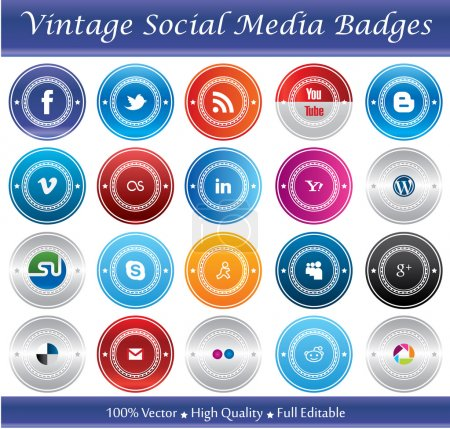 Photo for This is a nice, simple and elegant set of vintage social media badges suitable for your graphic and web projects. They are fully resizable and editable. - Royalty Free Image