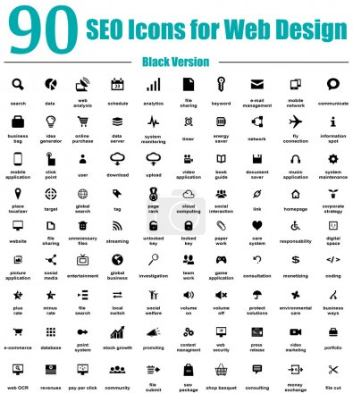 90 SEO Icons for Web Design - Black Version