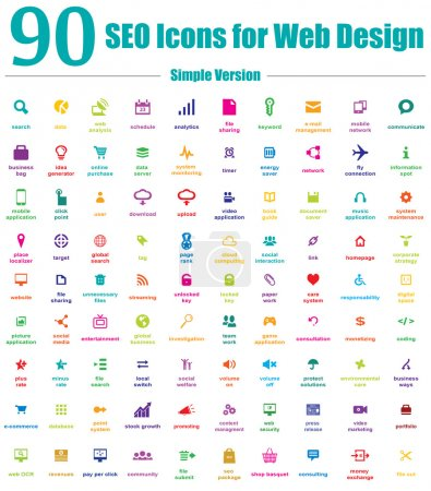 Photo for This is a cool, creative and very high quality pack of 90 SEO icons suitable for web and mobile design projects. Main features: 90 vector SEO Icons, vector file, full editable, easy to change color and resize. - Royalty Free Image