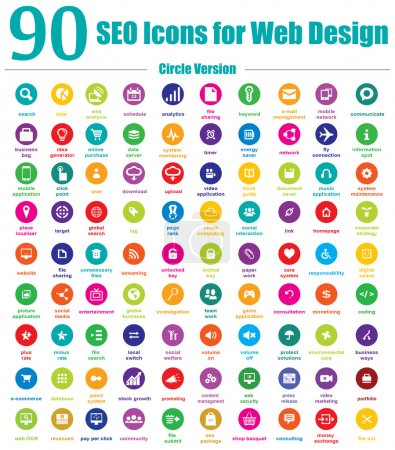 Illustration for This is a cool, creative and very high quality pack of 90 SEO icons suitable for web and mobile design projects. Main features: 90 vector SEO Icons, vector file, full editable, easy to change color and resize. - Royalty Free Image