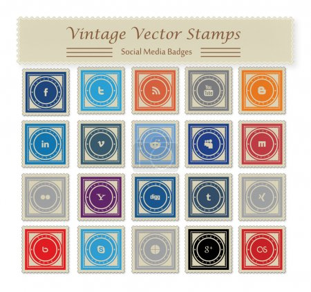 Photo for This is a nice, simple and elegant set of vintage social media vector stamps suitable for your graphic and web projects. They are fully re sizable and editable. - Royalty Free Image