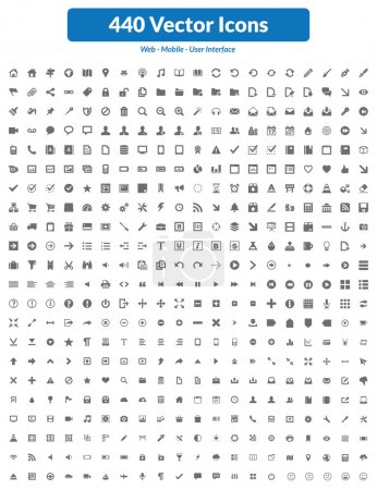 Photo for This is simple, clean, unique and high quality set of vector icons suitable for web, mobile and user interface projects. Easy to resize. 440 high quality icons and symbols. - Royalty Free Image