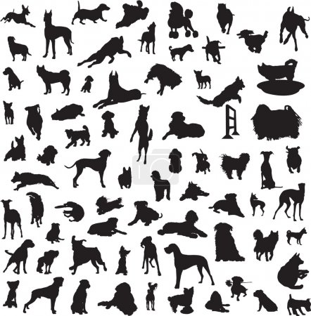 Large collection of different silhouettes of dogs