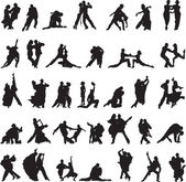 Set of silhouettes of couples dancing tango