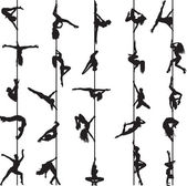 Set of silhouettes of pole dancers