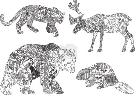 A set of drawings of animals in the ethnic