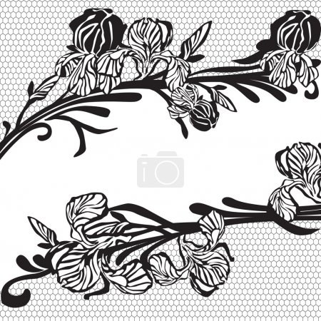 Illustration for Black lace with flowers - Royalty Free Image